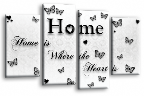 Home Quote Wall Art Print White Black Love Split Picture